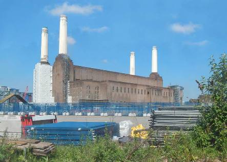 Battersea Power Station with Chimney Scaffold