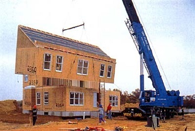prefab home in construction